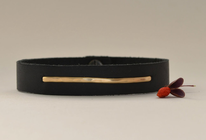 Handmade leather cuff bracelet with a 14kt gold fill linear plate