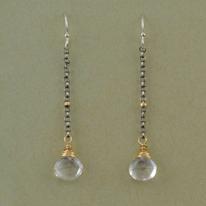 handmade earrings with faceted crystal quartz: view 1