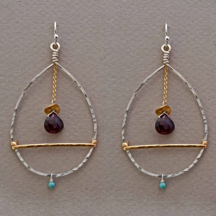 Unique handmade earrings with garnet gemstone and sterling silver filled with 14kt gold