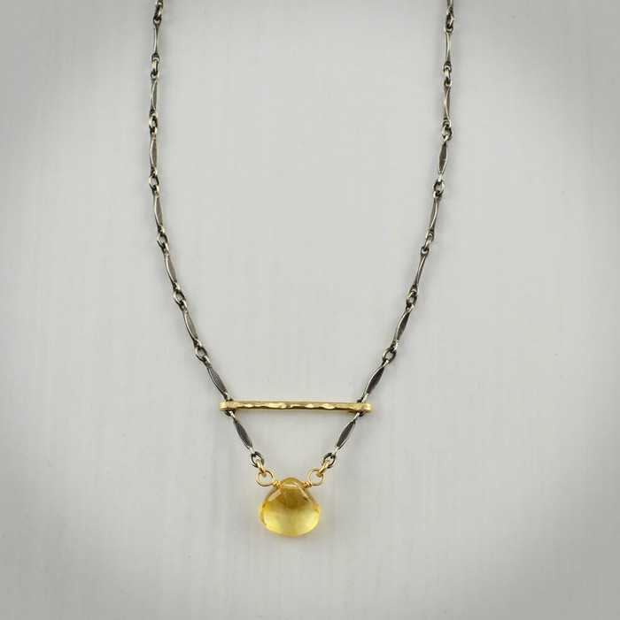 Hand forged unique necklace with citrine gemstone and sterling silver filled with 14kt gold: view 1