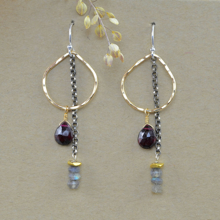 Unique handcrafted earrings with various gemstones and gold filled sterling silver: view 1