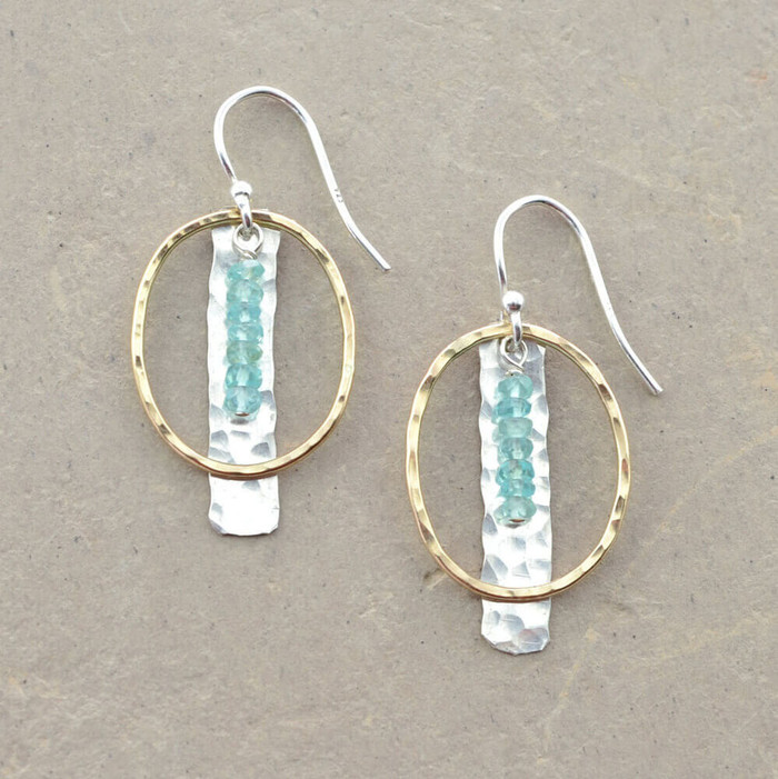 Hand forged sterling silver earrings embellished with aquamarine gemstones and gold loop: view 1