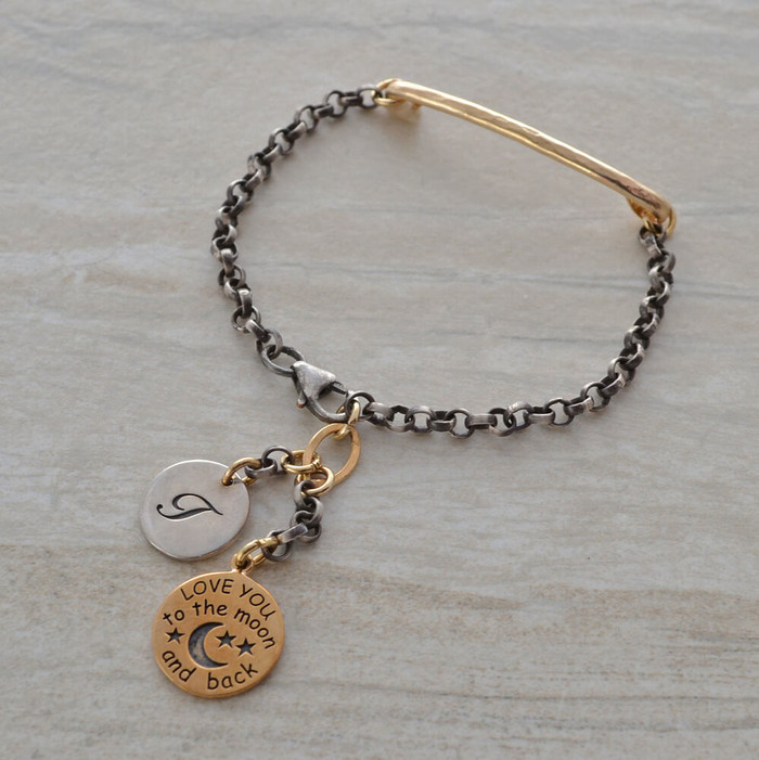 handmade bracelets with oxidized sterling silver with the personalized letter