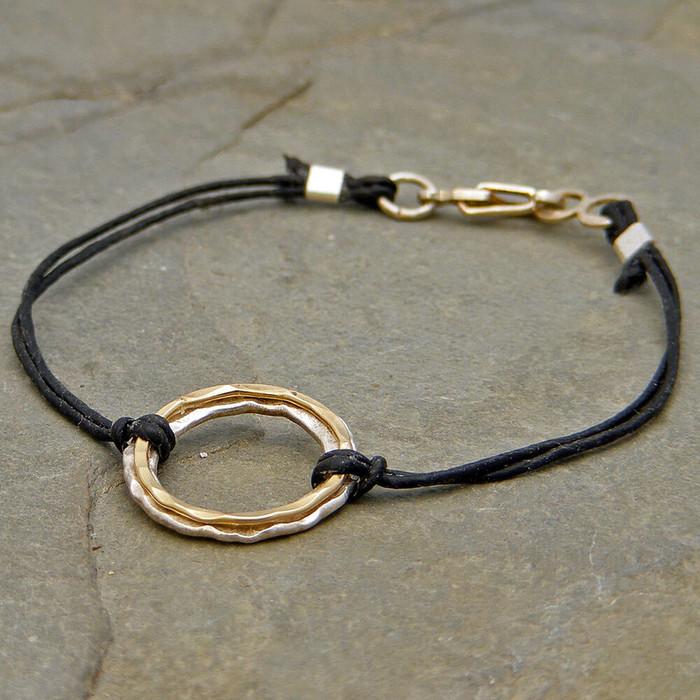 Layered Circles Linen Bracelet