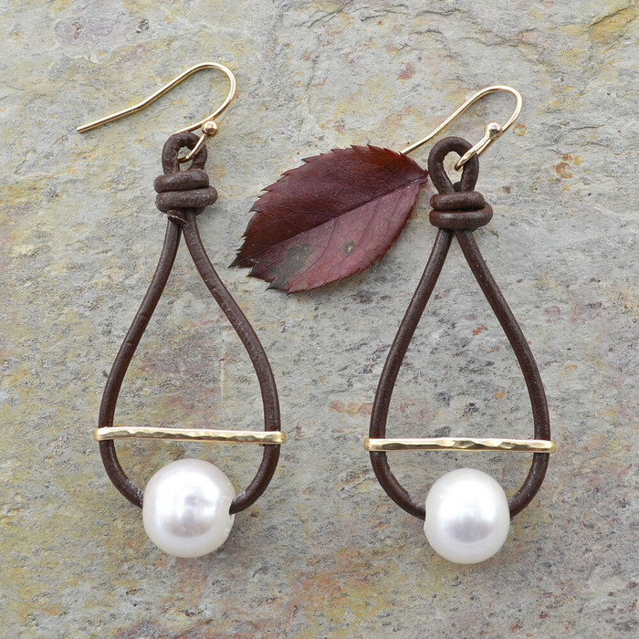 Unique handcrafted earrings made with pearls and leather hoop: view 1