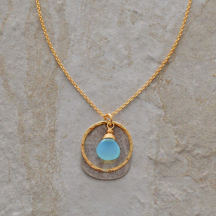 Handmade chalcedony stone necklace with hand hammered 14kt filled circle: view 1