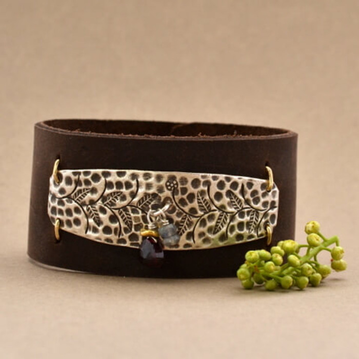 Stamped Floral and Charms Leather Cuff