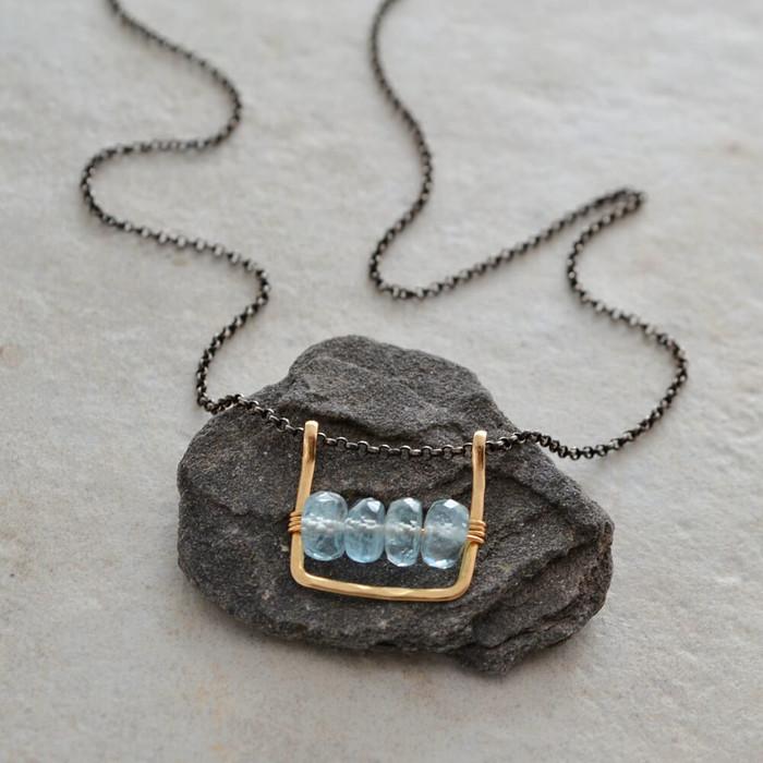 handmade unique necklaces with four aquamarine gemstone at the center: view 1