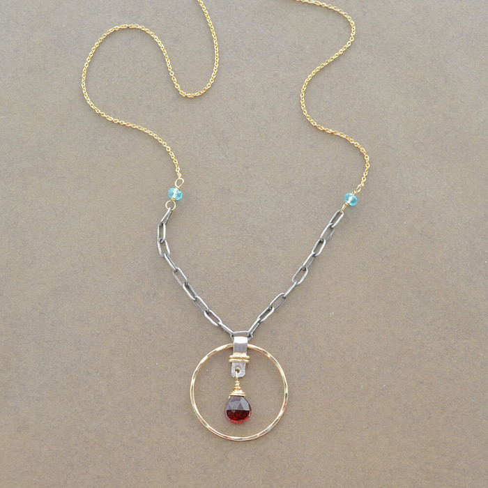 Artisan Necklace with garnet gemstones and 14kt gold fill sterling silver: view 1