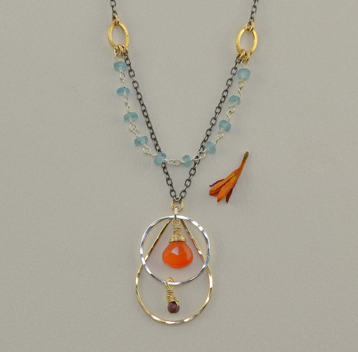 unique handmade gemstone necklaces made with carnelian and apatite: view 1