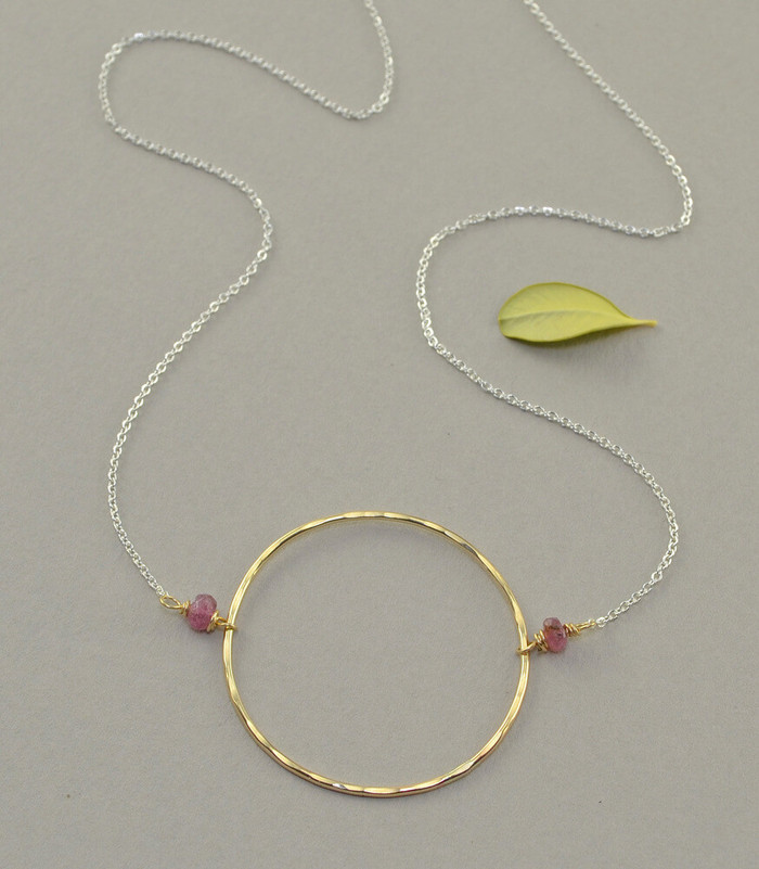 handmade necklace with simple 14kt gold fill circle design: view 1