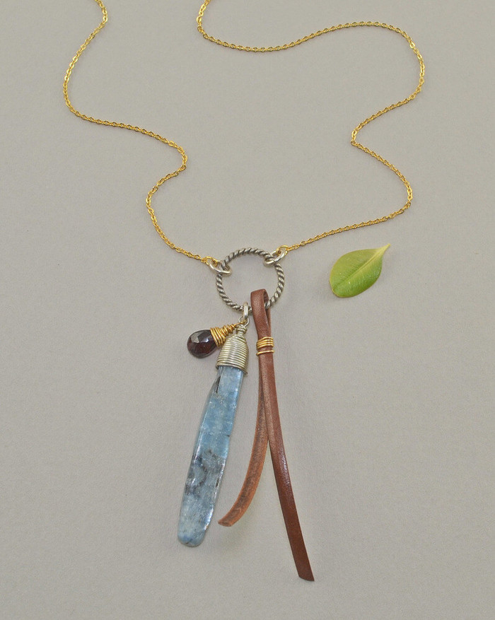 Unique necklaces made with kyanite stone and gold fill chain: view 1