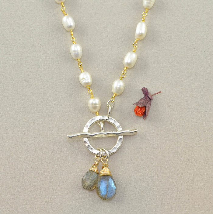 Handcrafted necklace made with pearls and blue labradorite