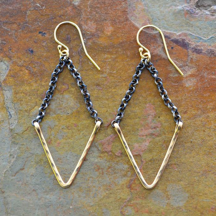 Geometrically shaped handmade earrings: view 1