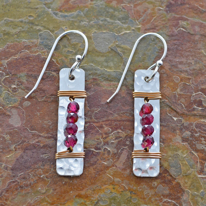 handmade garnet earrings with four garnets wrapped to sterling silver: view 1