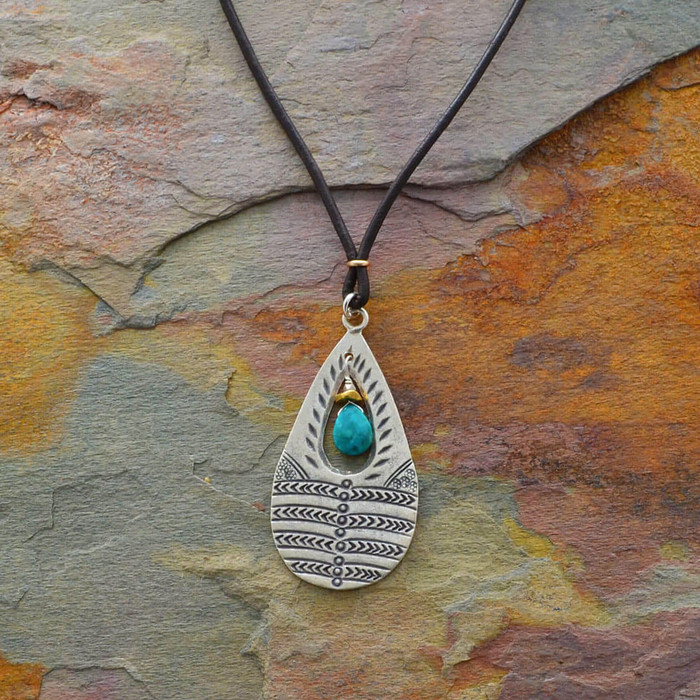 Handmade leather necklaces with teardrop pendant: view 1