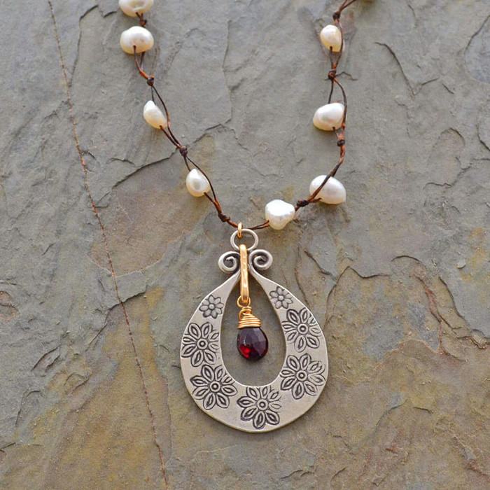 Unique necklaces with organic pearls and red garnet stone centered: view 1