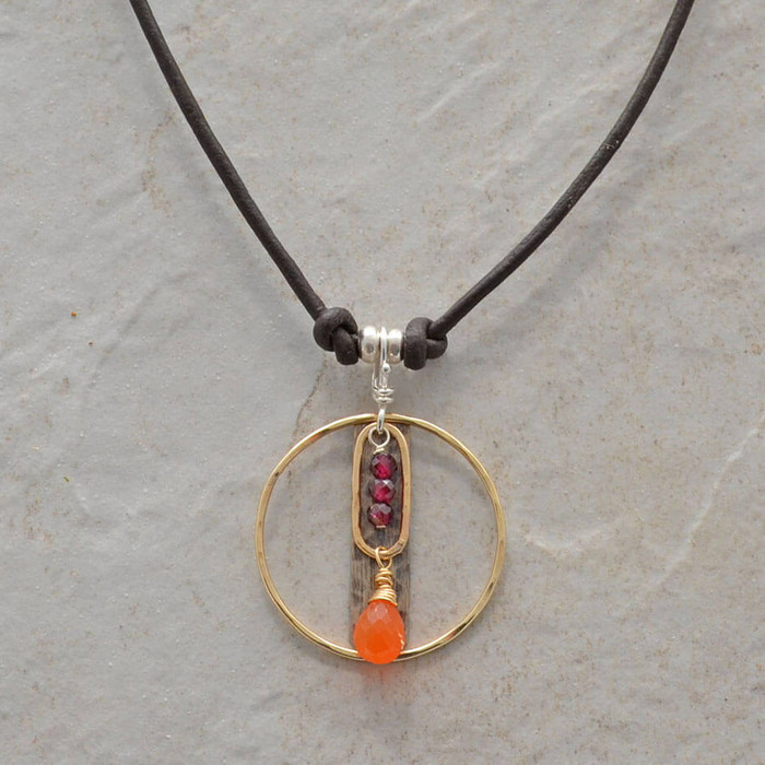 Handmade necklaces with leather cord, garnet, and carnelian stones: view 1