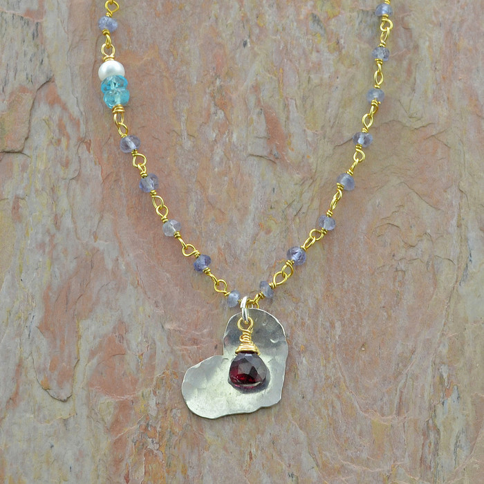 textured heart iolite handcrafted necklace: view 1