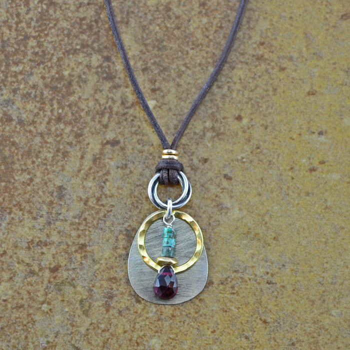 unique handmade necklaces with teardrop garnet stone and sterling silver: view 1