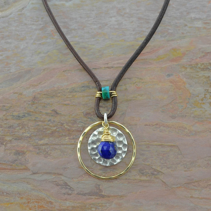 handmade necklace with 14/20k gold filled circle and turquoise stone centered