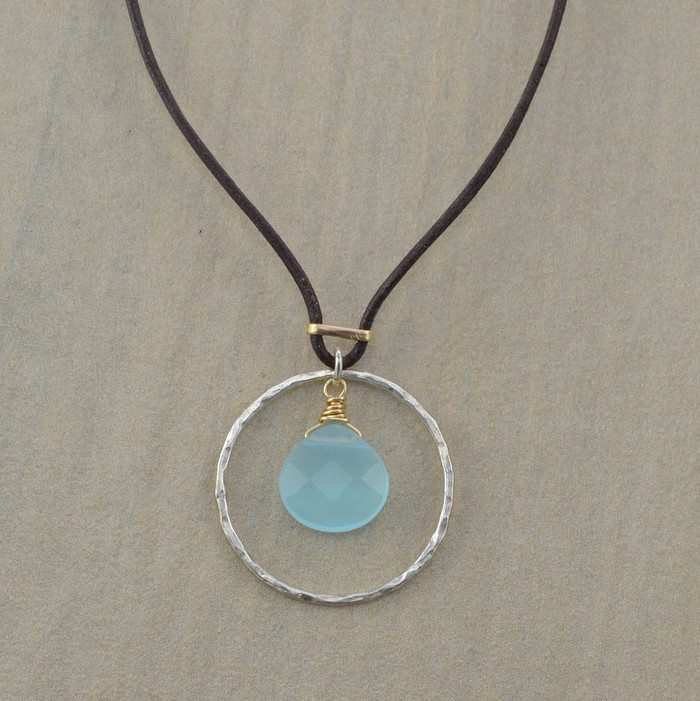 Unique necklaces with sterling circle and chalcedony stone in the center view 1