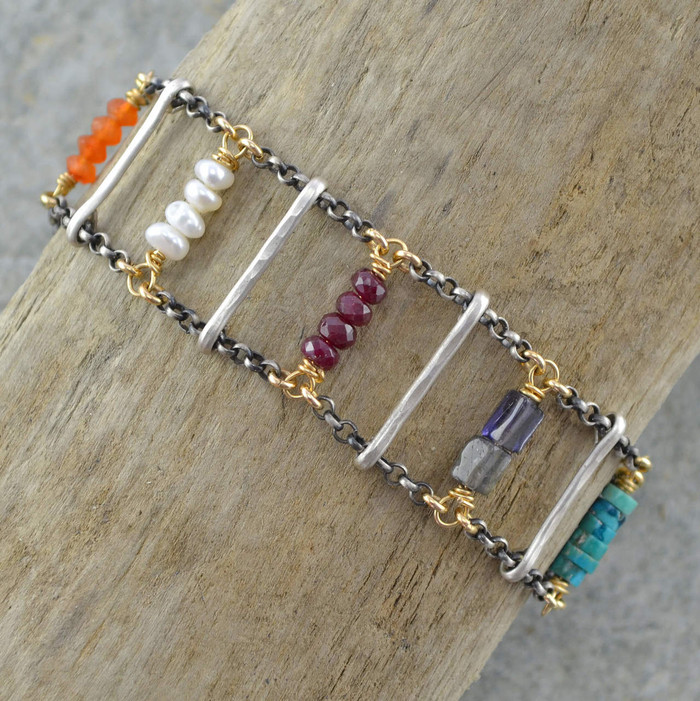 Handmade gemstone bracelets with various types of gemstones and 14/20k gold filled sterling silver chain view 1