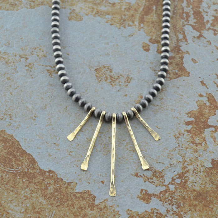 Golden Sun Ray style handmade necklace: view 1