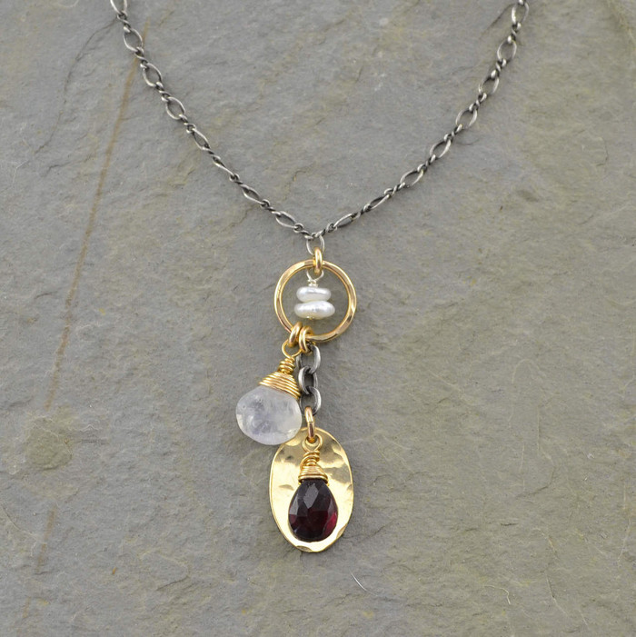 Handcrafted dangling gemstones necklace with center circle filled 14/20k gold view 1