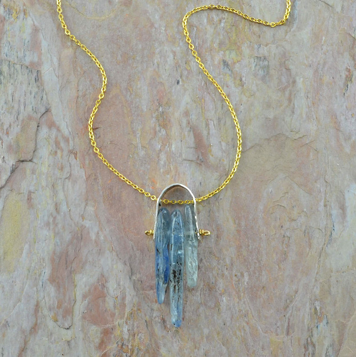 handmade artisan necklace with 14/20k gold filled chain and kyanite gemstone view 1