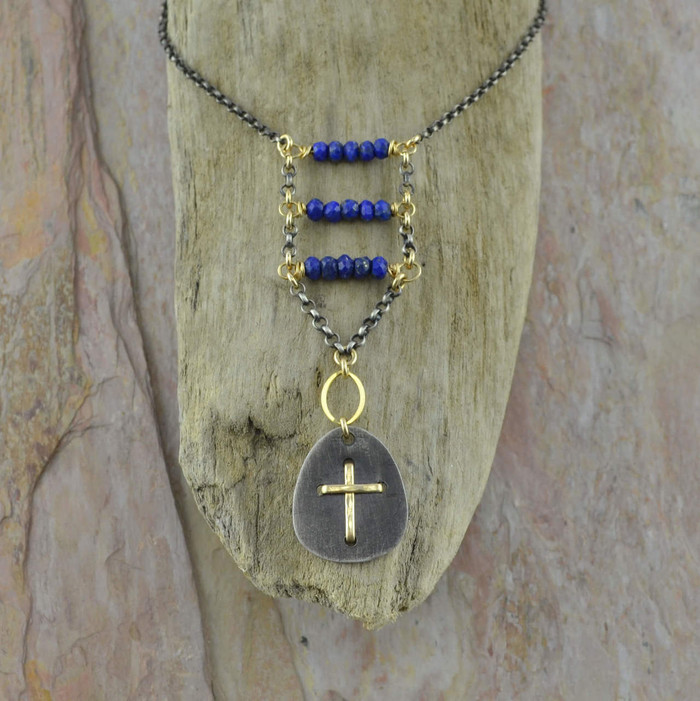 Handmade necklace with 14/20k gold and lapis stone View 1