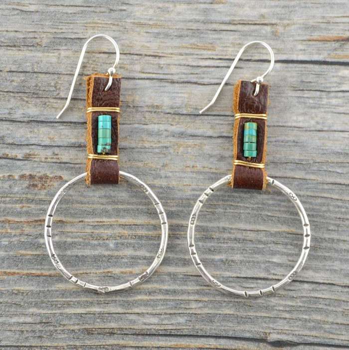 Silver spur turquoise and leather earrings: view 1