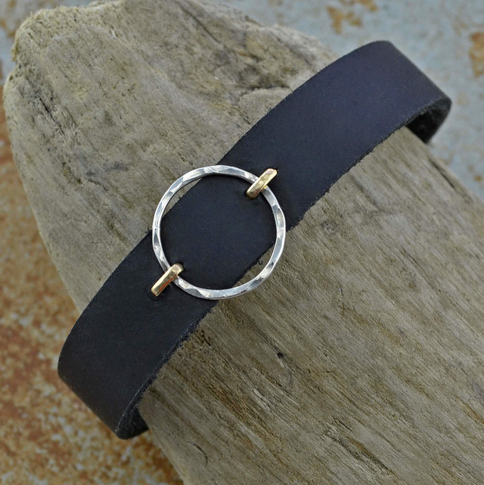 simple but elegant leather bracelet design featured with sterling silver circle suspended between 14/20k gold filled stems