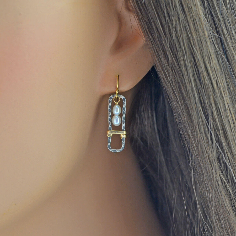 Handmade unique earrings with framed pearls in sterling silver: view 2