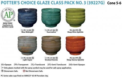 This class pack contains one pint each of the following Potter's Choice glazes: PC-12 Blue Midnight, PC-27 Tourmaline, PC-29 Deep Olive Speckle, PC-34 Light Sepia, PC-37 Smoked Sienna, and PC-52 Deep Sienna Speckle.