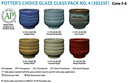 This class pack contains one pint each of the following Potter's Choice glazes: PC-23 Indigo Float, PC-28 Frosted Turquoise, PC-33 Iron Lustre, PC-39 Umber Float, PC-43 Toasted Sage, and PC-59 Deep Firebrick.