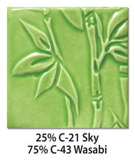 Tile glazed with a mix of 25-percent C-21 Sky plus 75-percent C-43 Wasabi