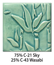 Tile glazed with a mix of 75-percent C-21 Sky plus 25-percent C-43 Wasabi