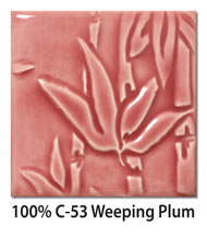 Tile glazed with 100-percent C-53 Weeping Plum