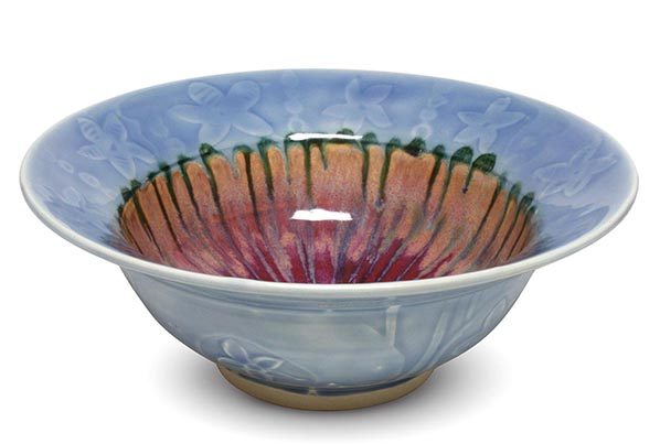 Bowl by Stephen Creech glazed with C-56 Lavender, PC-55 Chun Plum, PC-42 Seaweed, and ST-56 Violet
