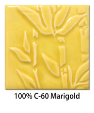 Tile glazed with 100-percent C-60 Marigold