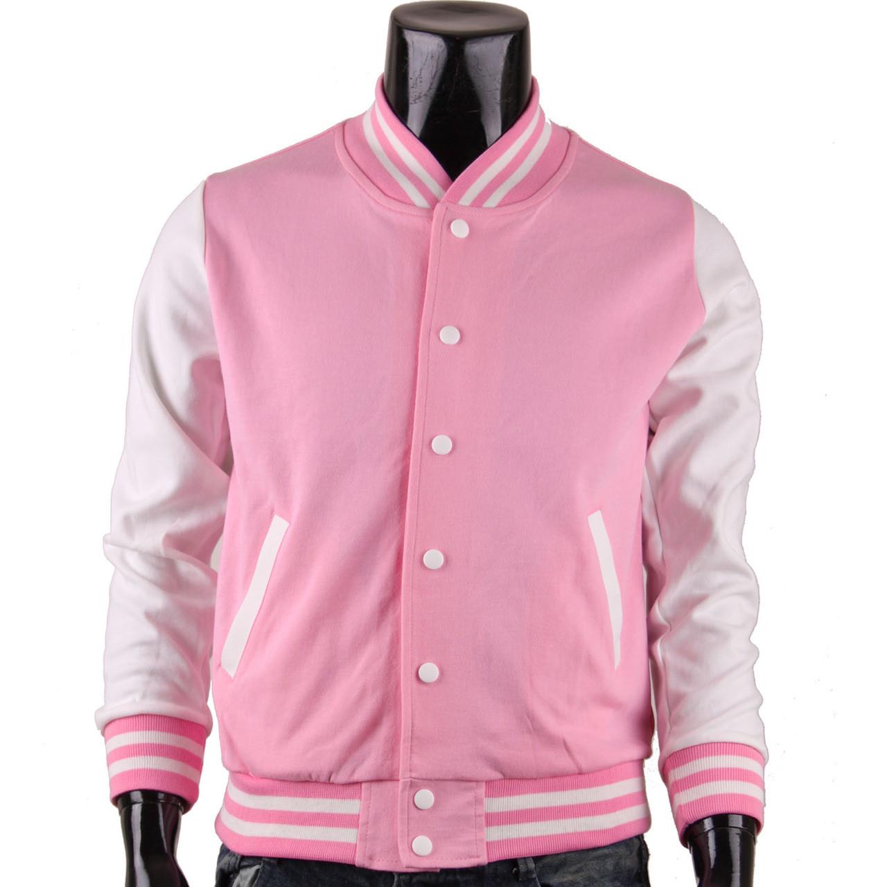 BCPOLO Men's Pink Baseball Jacket Varsity Jacket Letterman Jacket