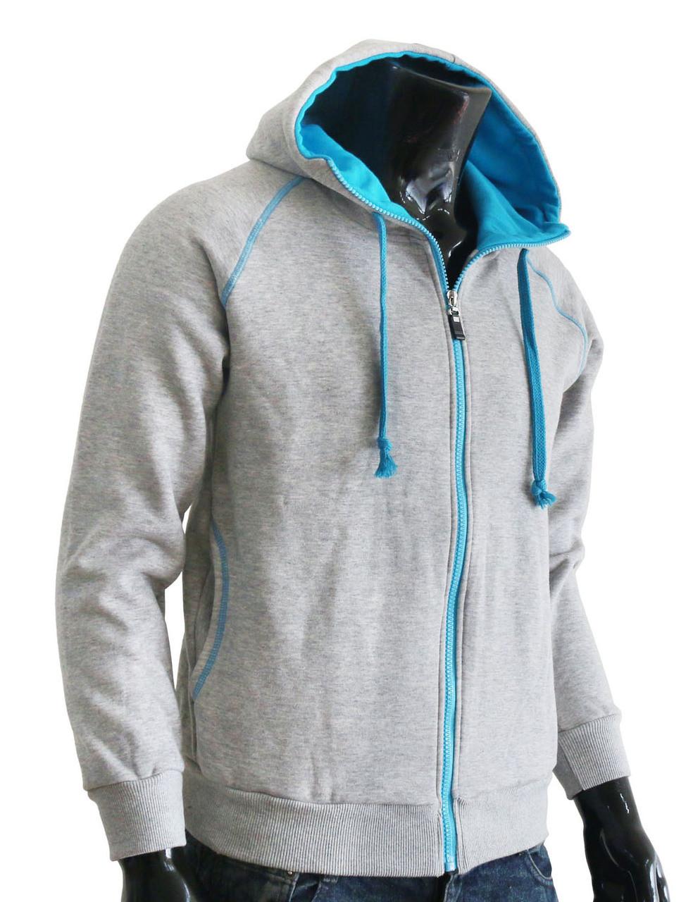 Casual warm sweat zip-Hoodie jumper of blue color hoodie . 3f57fc613
