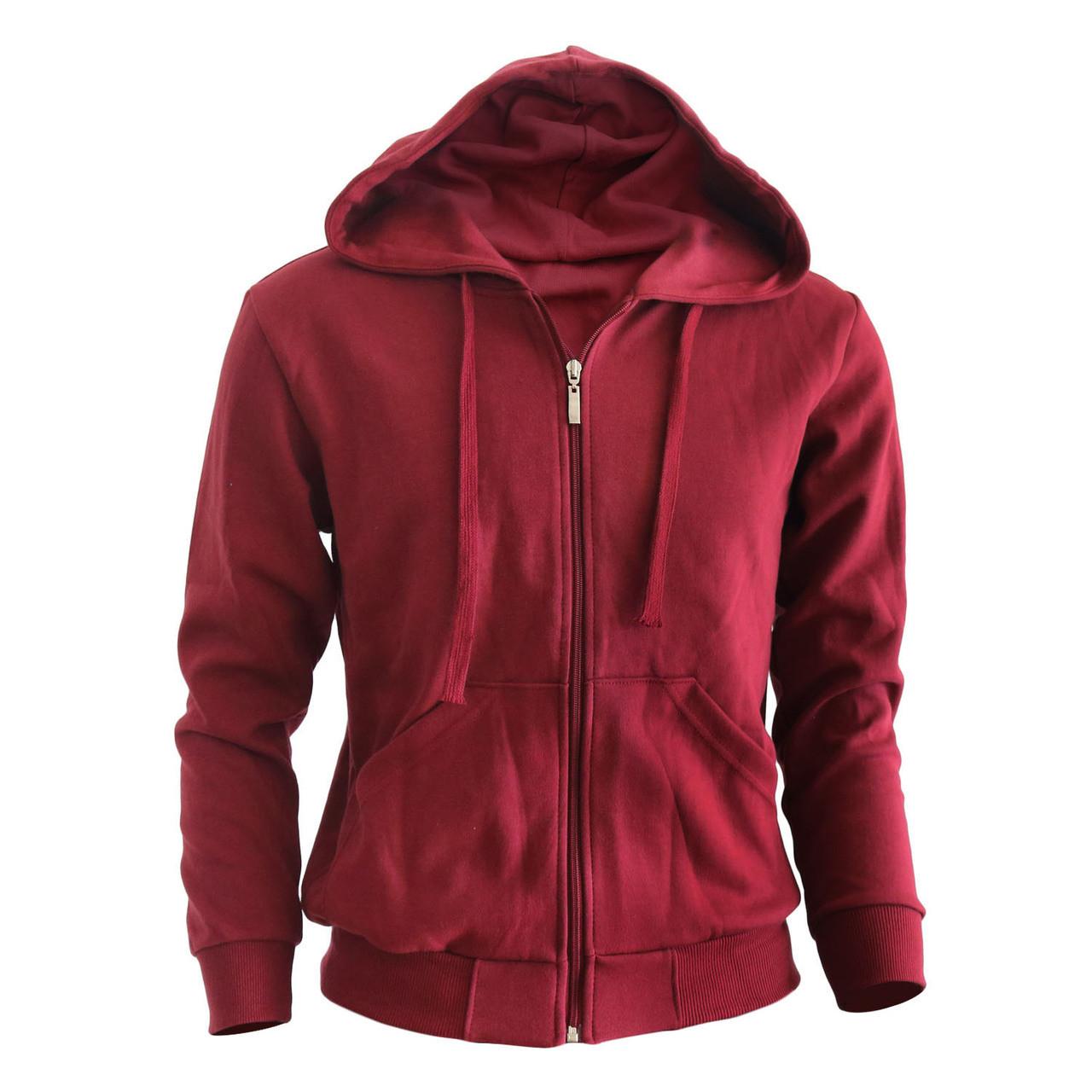 Plain red zip up hoodie