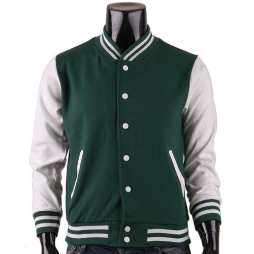 Bcpolo Men's Green Baseball Jacket Varsity Jacket Letterman Cotton Baseball Jacket.