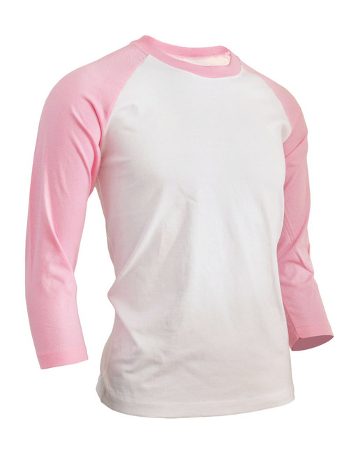 BCPOLO Unisex casual round neck t-shirt 3/4 sleeve 2 tone color Raglan t-shirt cotton comfortable t-shirt.-pink