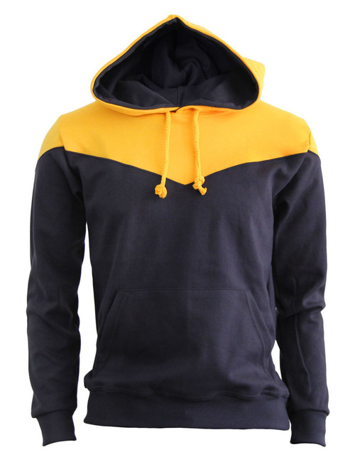 BCPOLO 2Tone Zip Up Long Sleeves Fleece Pullover Hoodie_BROWN_YELLOW