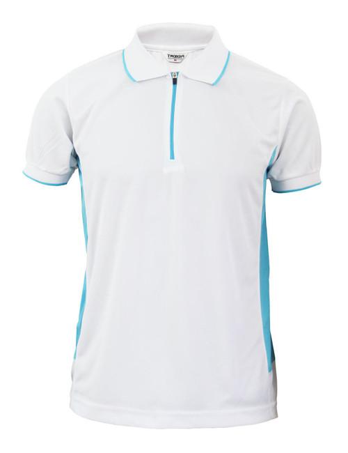 Coolon Sportswear Polo shirts Zip-up style short sleeve shirt. White
