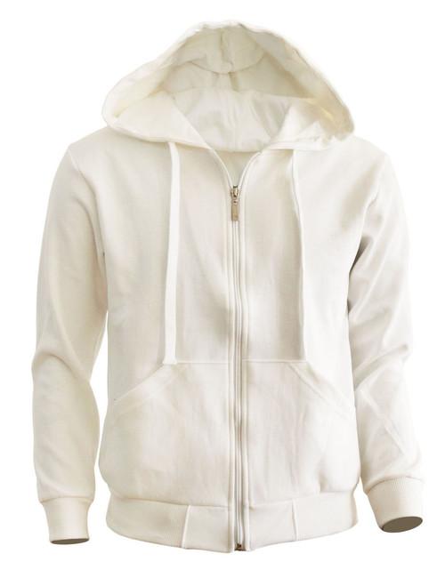 BCPOLO zipper hoodie jumper Zip-Hoodie, Solid Cotton Zip-up hoodie jacket-Ivory
