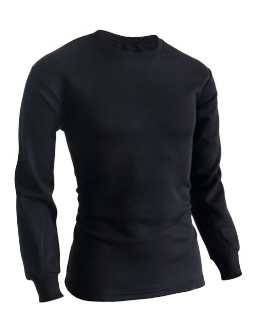 BCPOLO Men's casual round neck style Long Sleeves warm sweat cotton t-shirt.-black